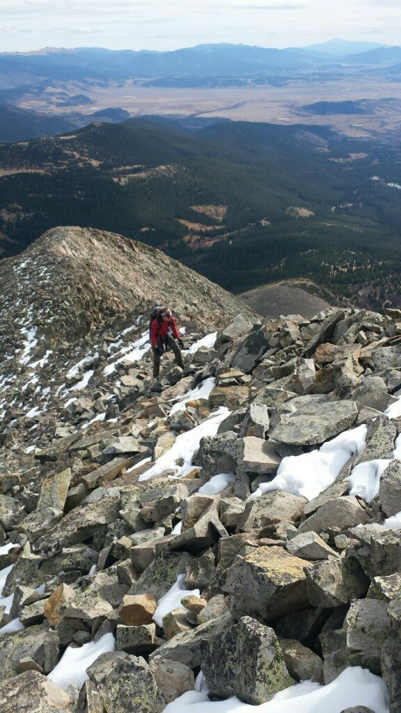 climbing the final ridge to the summit of Mt Guyot