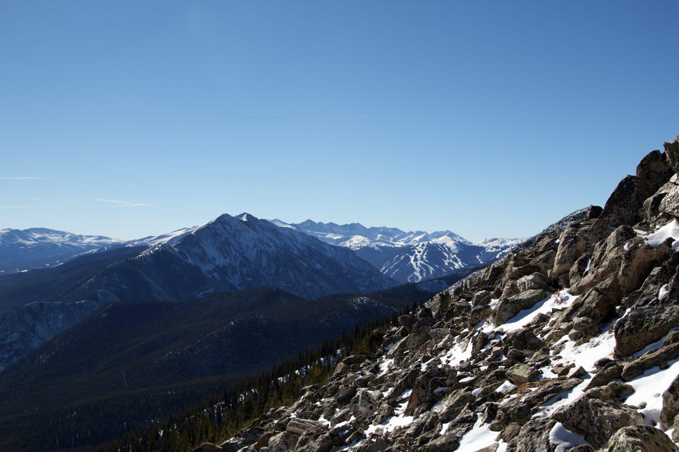 winter hiking and snowshoeing - Buffalo Mountain