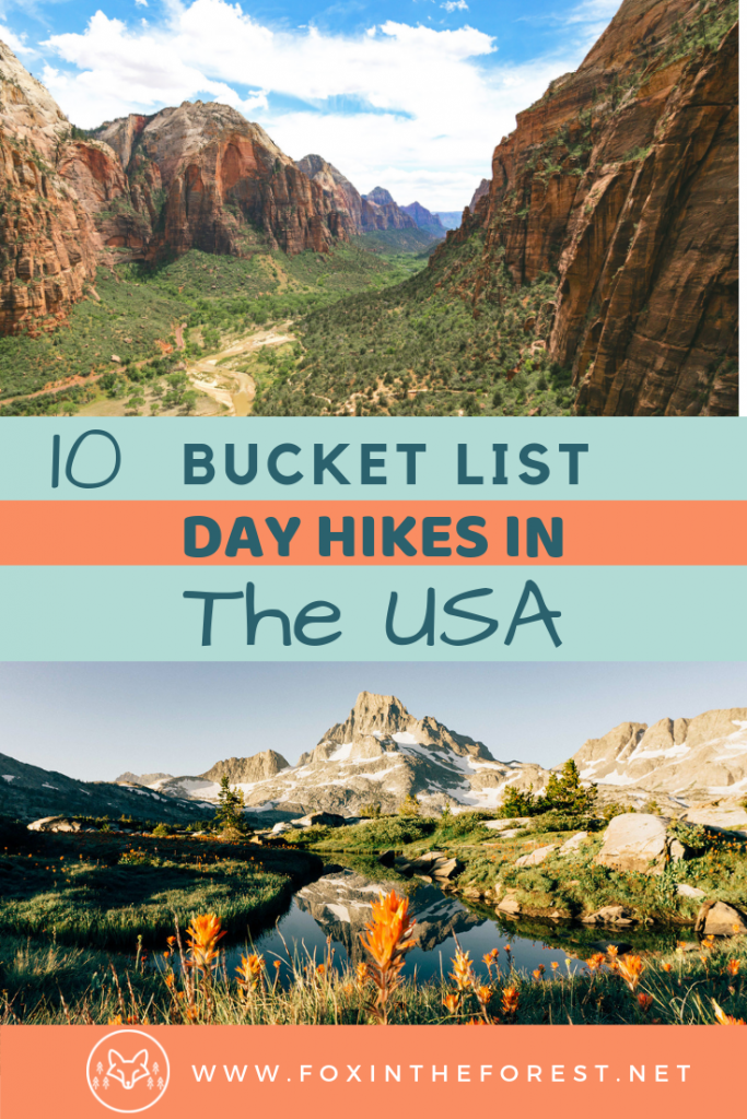 The best day hikes in the USA. National Park day hikes for your bucket list. Incredible hiking regions in the USA for your road trip. #hiking #USA #roadtrip #travel #outdoors