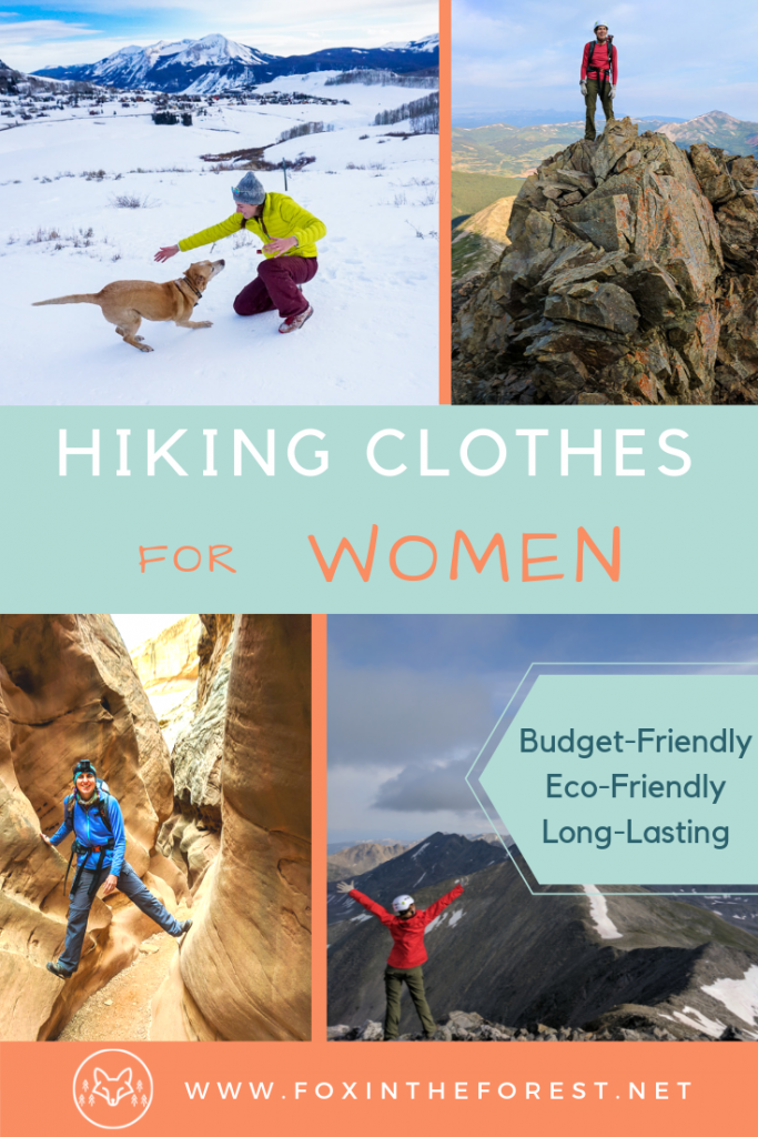 Complete guide to hiking clothes for women. Best hiking clothes for women. Budget friendly hiking clothes guide. Eco-friendly hiking clothing for women. What to wear on a hike. #hiking #outdoorgear #womensclothing #hikinggear #outdoorfashion