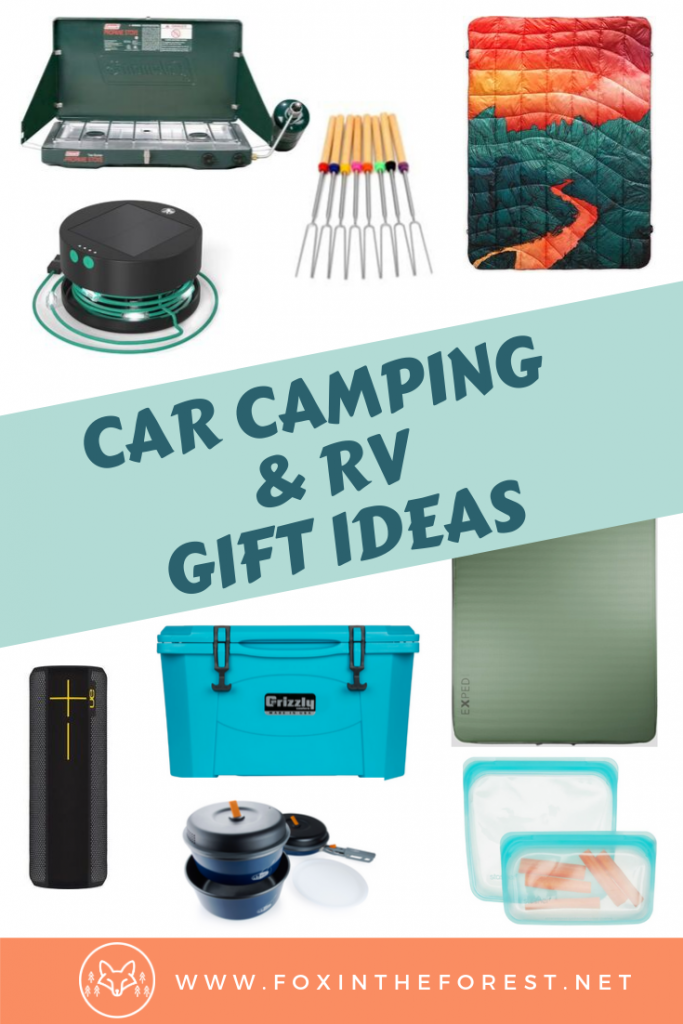 Unique car camping gifts for men and for women. Cute RV gifts for him and for her. Amazing summer camping gift ideas. The best car camping gift ideas for Christmas and the holidays. #camping #outdoors #giftideas