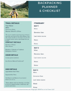 backpacking packing list and planner