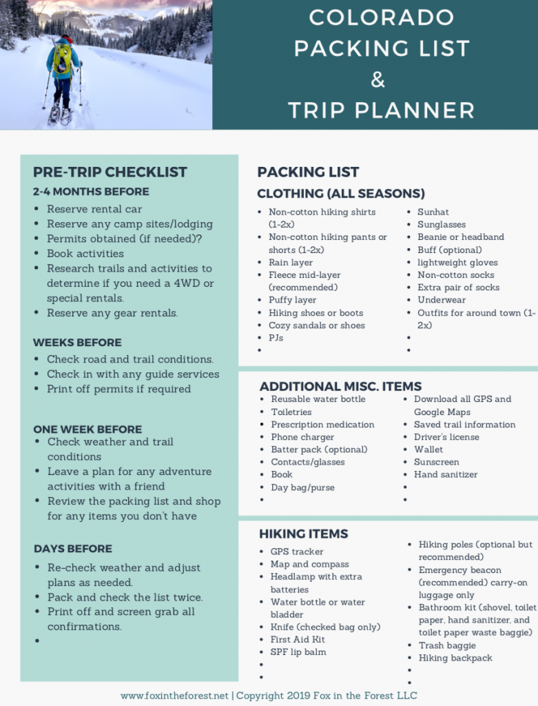 colorado packing list