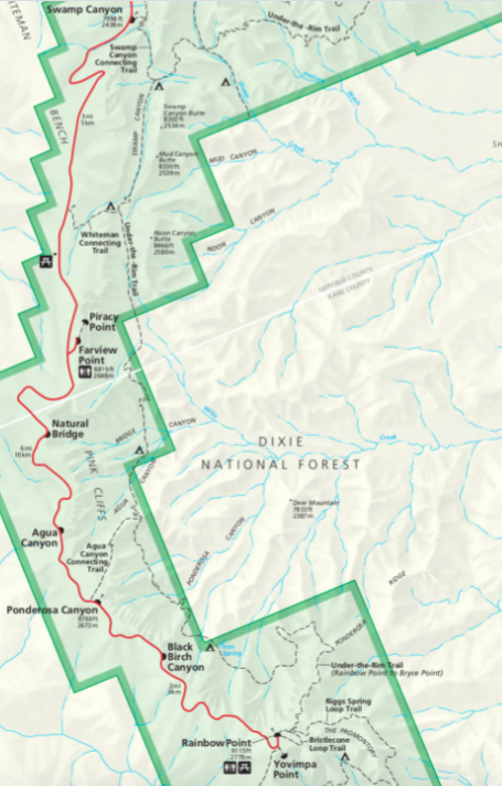 map of bryce canyon