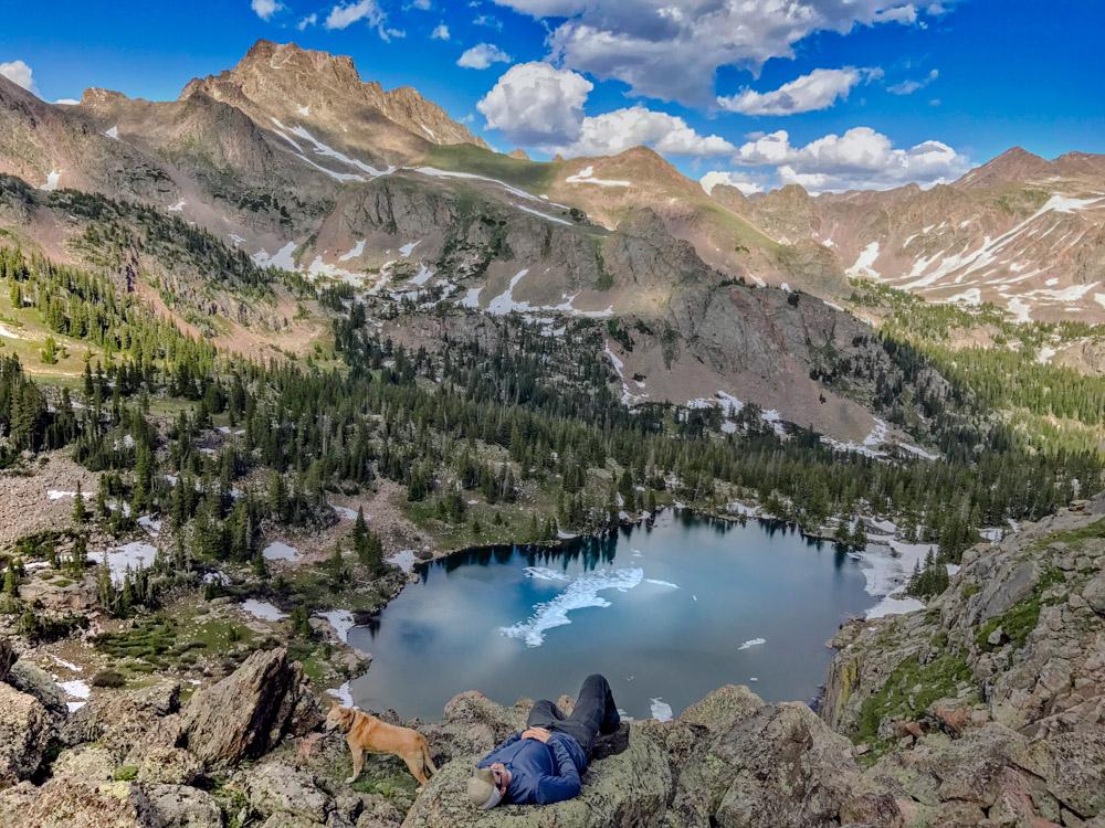 A weary hiker relaxing near Gore Lake.