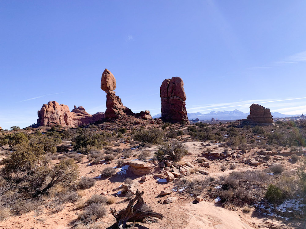 Your weekend in Arches National Park should include a stop at Balanced Rock.