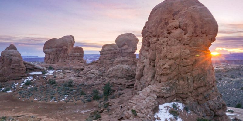 Watching the sunrise is must when spending the weekend in Arches National Park.