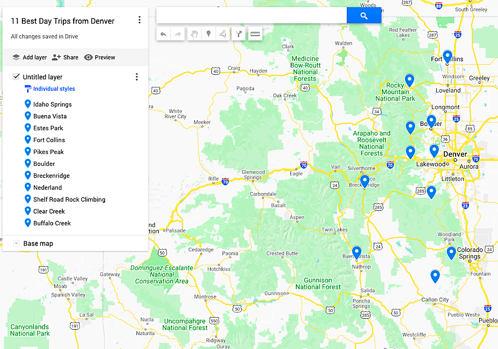 map of day trips from denver