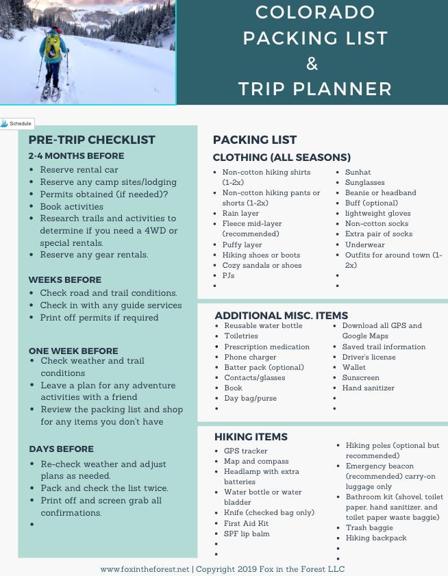 Colorado Packing List