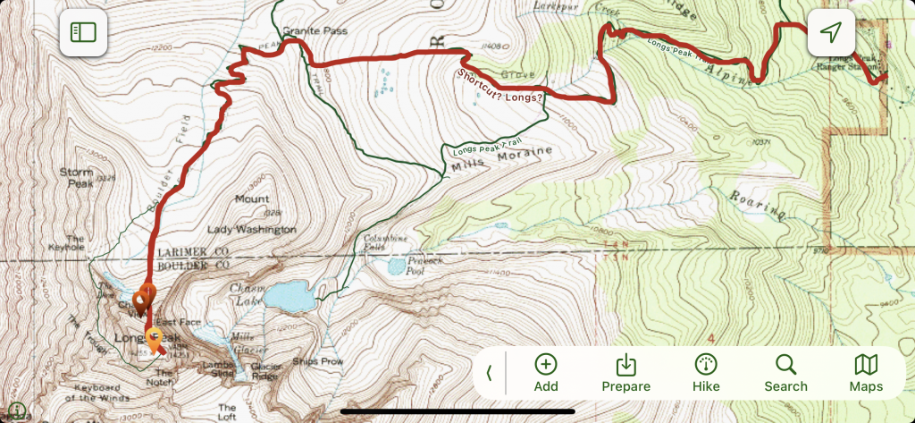 map of longs peak cable route