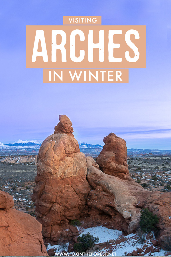 Everything you need to know about visiting Arches National Park in winter. If you're headed to Moab, Utah this winter and want to make the most out of your visit to Arches National Park in the colder months, here's how to prepare!